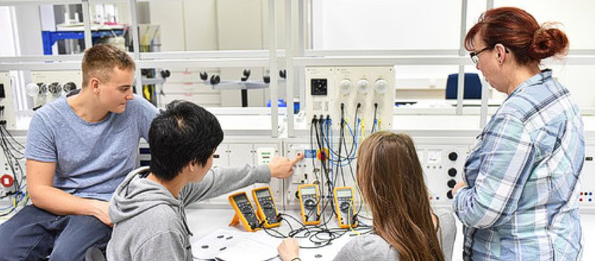 Students working on an electronics project